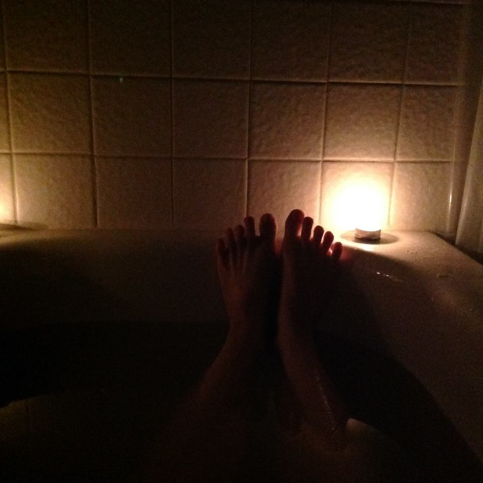My toes in my candle-lit bath.